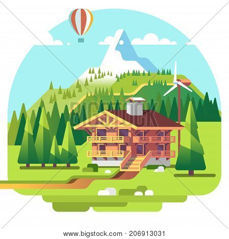 Mountain landscape with resort, lodge and spruce trees on background. Summer vacation. Flat vector illustration.