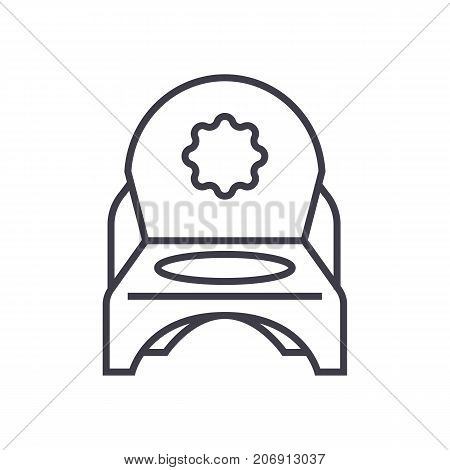 toilet potty vector line icon, sign, illustration on white background, editable strokes
