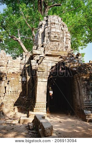 Eastern gopuram of Ta Som Temple in Angkor Complex, Siem Reap, Cambodia. Ancient Khmer architecture, famous Cambodian landmark, World Heritage