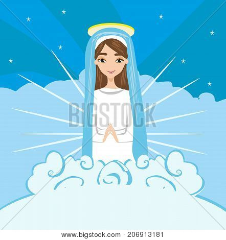 Holy Mary on religious card , vector illustration