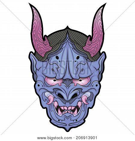 traditional oriental hannya demon mask vector illustration