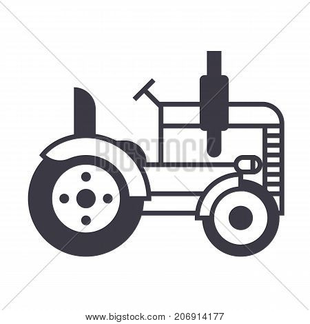 tractor vector line icon, sign, illustration on white background, editable strokes