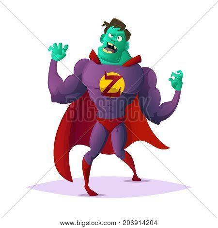 Zombie superhero. Concept cartoon character design vector illustration.
