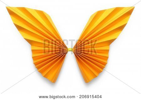 Orange butterfly of origami on white background, included Clipping Path