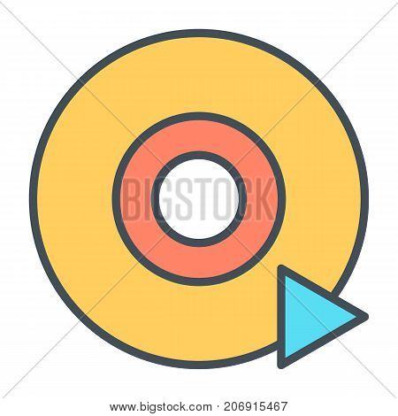 Disc CD DVD line icon and play sign. 96x96 for Web Graphics and Apps.  Simple Minimal Pictogram. Vector