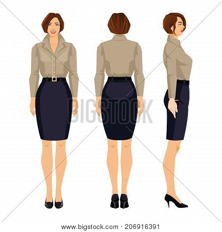 Vector illustration of woman in formal blue skirt, beige blouse and shoes on high heel on white background. Various turns woman's figure. Front view and back view.