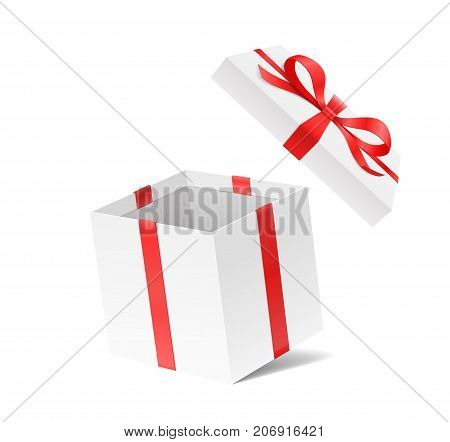 Empty open gift box with red color bow knot and ribbon isolated on white background. Happy birthday, Christmas, New Year, Wedding or Valentine Day package concept. Closeup Vector illustration 3d view