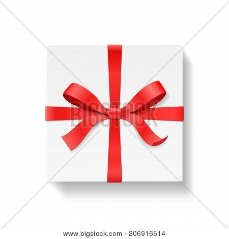 Square gift box with red color bow knot and ribbon isolated on white background. Happy birthday, Christmas, New Year, Wedding or Valentine Day package concept. Closeup Vector illustration 3d top view
