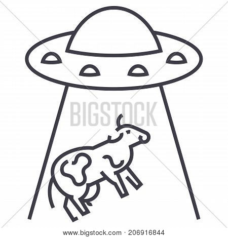 ufo invasion, cow vector line icon, sign, illustration on white background, editable strokes