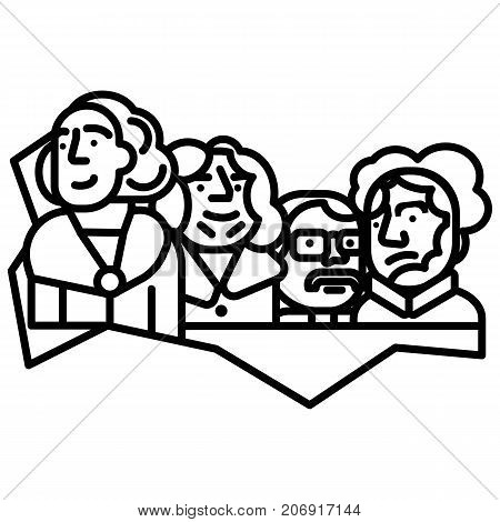 usa presidents, mount rushmore vector line icon, sign, illustration on white background, editable strokes