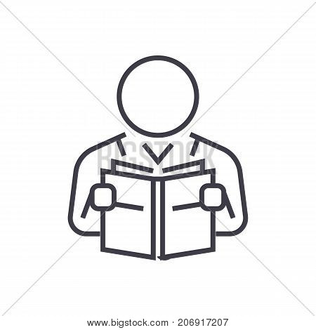 user reading book vector line icon, sign, illustration on white background, editable strokes