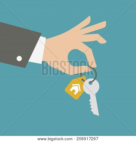 ctor hand giving keys. Real estate concept.