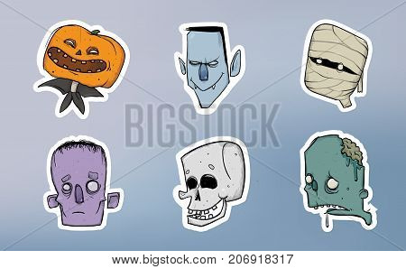 Halloween sticker pack. Zombie, skeleton, mummy, pumpkin and other scary characters. Vector illustration set