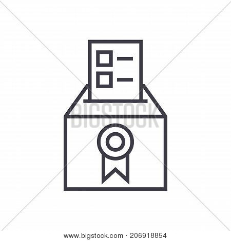 vote, voting, elections, poll vector line icon, sign, illustration on white background editable strokes