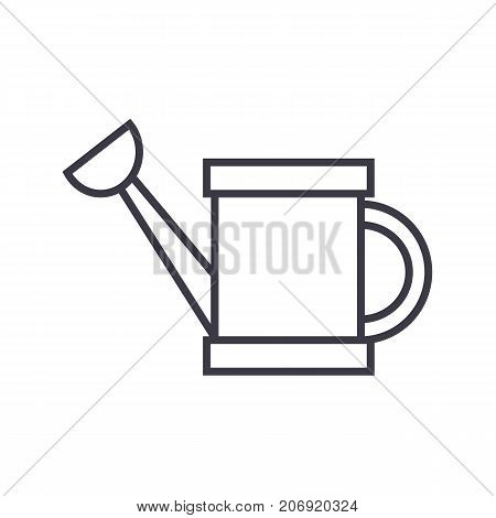 water heating tank vector line icon, sign, illustration on white background, editable strokes