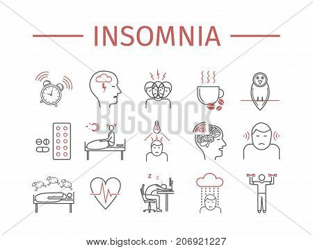Insomnia, Symptoms. Line icons set. Vector signs for web