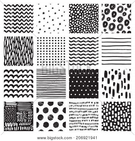 Seamless patterns with hand drawn scribbles and spots. Abstract background with brush strokes. Vector set of hand drawn texture.