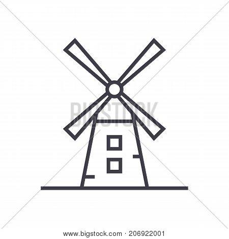windmill illustration vector line icon, sign, illustration on white background, editable strokes