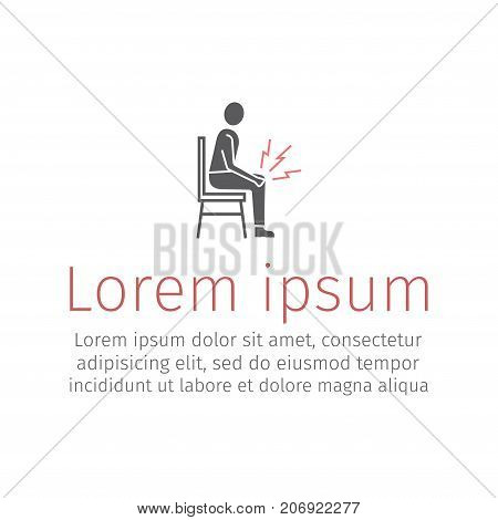 Man with knee pain icon. Vector web sign