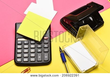 Stationery On Yellow And Pink Background, Close Up