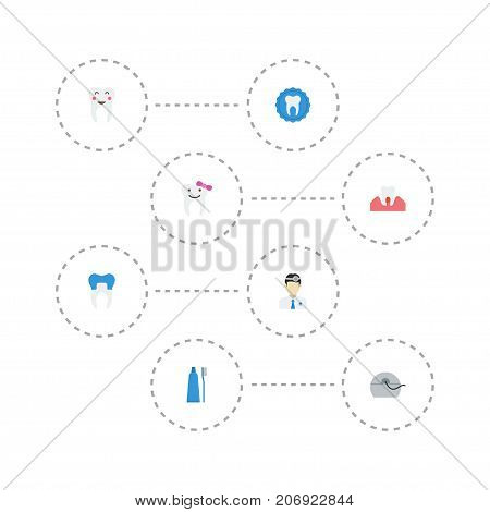 Flat Icons Halitosis, Dental Crown, Children Dentist And Other Vector Elements