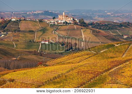 Rows of colorful autumnal vineyards on the hill as small town on background in Piedmont, Northern Italy.
