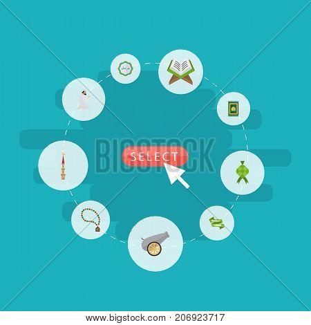 Flat Icons Decorative, Ramadan Kareem, Bead And Other Vector Elements