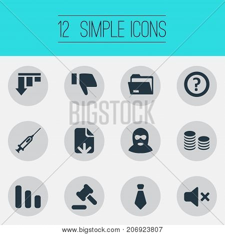 Elements Mafia, Dress-Code, Bar Graph And Other Synonyms Balaclava, Shot And Injection.  Vector Illustration Set Of Simple Trouble Icons.