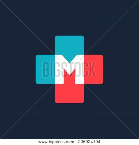 Letter M Cross Plus Medical Logo Icon Design Template Elements