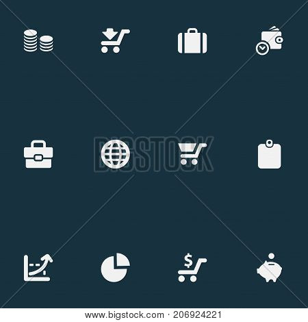 Elements Portfolio, Authentication, Progress And Other Synonyms Trolley, Spending And Development.  Vector Illustration Set Of Simple Finance Icons.
