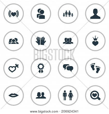 Elements Barefoot, Lineage, User And Other Synonyms Female, Romantic And Friends.  Vector Illustration Set Of Simple Lovers Icons.