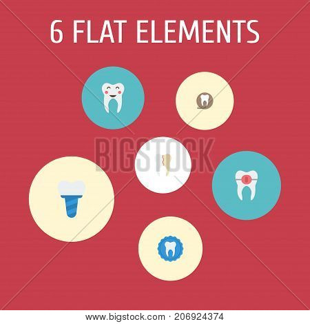 Flat Icons Treatment, Tooth Seal, Enamel And Other Vector Elements