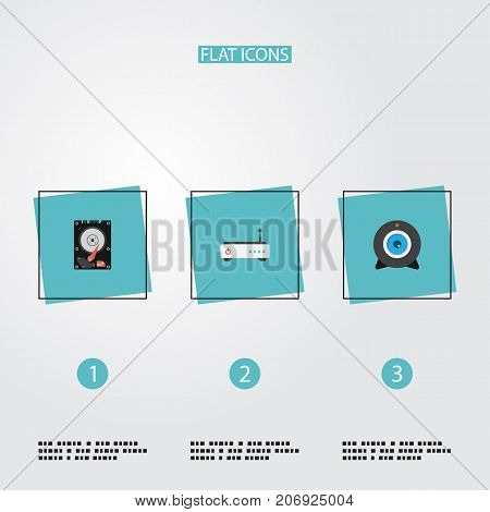 Flat Icons Hard Disk, Router, Web Cam And Other Vector Elements