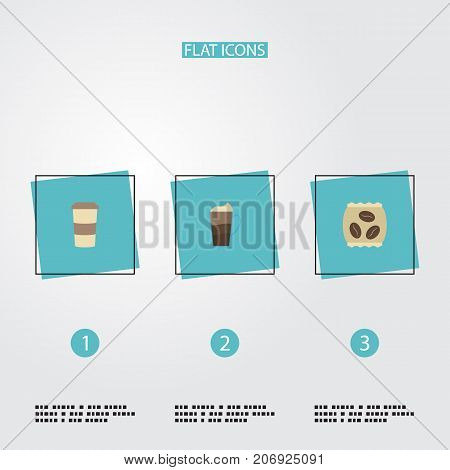 Flat Icons Latte, Package Latte, Plastic Cup And Other Vector Elements