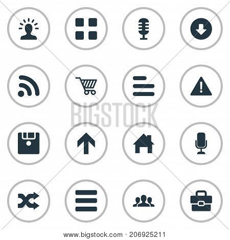 Elements Wireless Connection, Menu, Randomize Synonyms Diskette, Options And Disk.  Vector Illustration Set Of Simple Interface Icons.