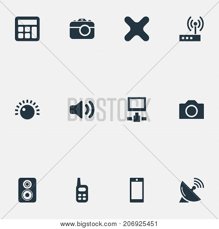 Elements Talkie, Switch, Adding Device And Other Synonyms Antenna, Adding And Phone.  Vector Illustration Set Of Simple Gadget Icons.