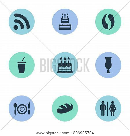 Elements Cafe, Soft Drink, Toilet And Other Synonyms Restroom, Wireless And Drink.  Vector Illustration Set Of Simple Food Icons.