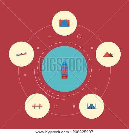 Flat Icons Bridge, Waterfall, Great Pyramid And Other Vector Elements