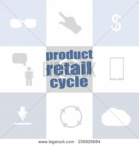 Text Product Retail Cycle. Business Concept . Infographic Template For Presentations Or Information