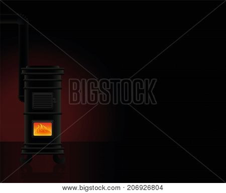 Heated room - a vintage cast iron stove provides cozy warmth in the cold winter.