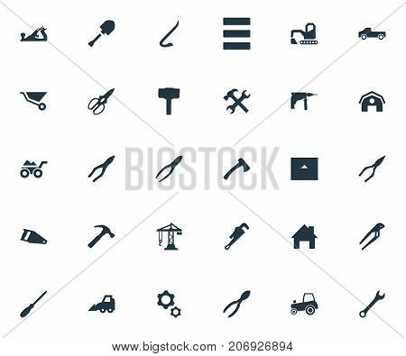 Elements Hoisting Machine, Hammer, Loaded Trolley And Other Synonyms Gears, Wrench And Property.  Vector Illustration Set Of Simple Construction Icons.