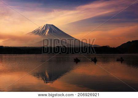 Mt. Fuji Near Lake Shoji A Dawn