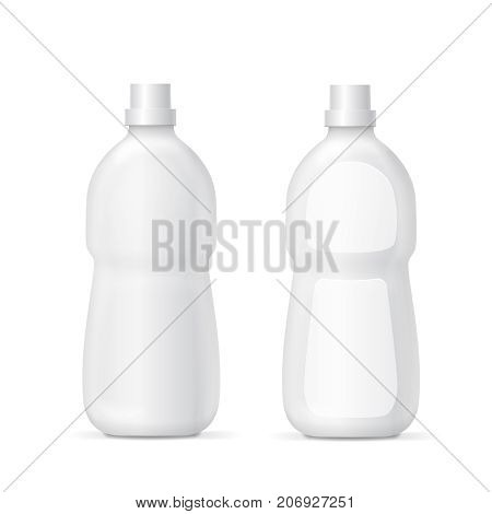 White plastic bottle for liquid laundry detergent or cleaning agent Packaging collection template. illustration.