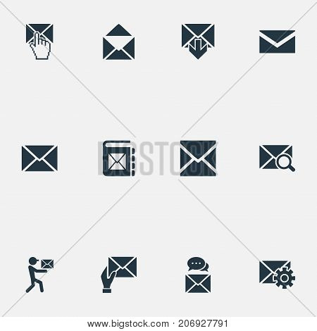 Elements Look For, Receiver, Inbox And Other Synonyms Envelope, Notepad And Communication.  Vector Illustration Set Of Simple Mail Icons.