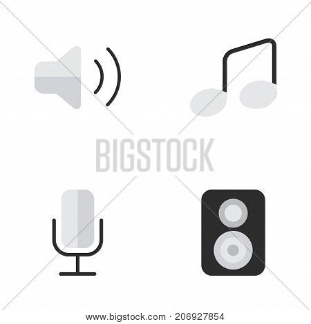 Elements Music Sign, Record, Loudness And Other Synonyms Loudspeaker, Microphone And Control.  Vector Illustration Set Of Simple Melody Icons.