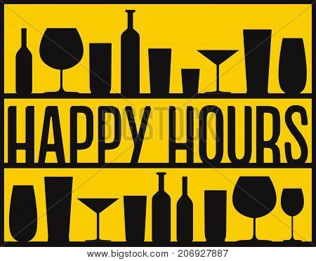 Happy Hours Vector Black Glasses And Bottles On The Shelves Yellow Background.