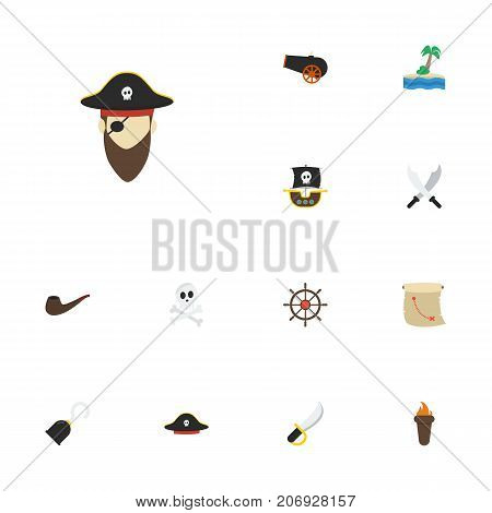 Flat Icons Cranium, Corsair, Pirate Hat And Other Vector Elements