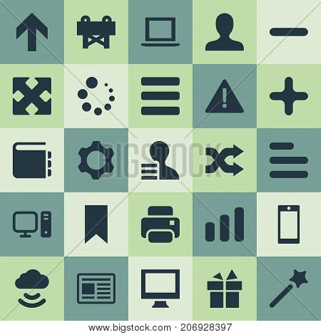 Elements Flag, Randomize, Add Synonyms Storage, Minus And Attention.  Vector Illustration Set Of Simple Design Icons.