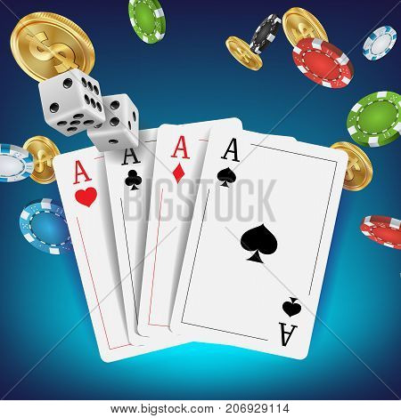 Casino Poker Design Vector. Poker Cards, Chips, Playing Gambling Cards. Royal Casino Retro Poker Club. Illustration