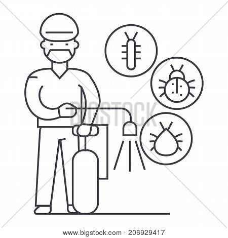worker, bug destroyer vector line icon, sign, illustration on white background, editable strokes